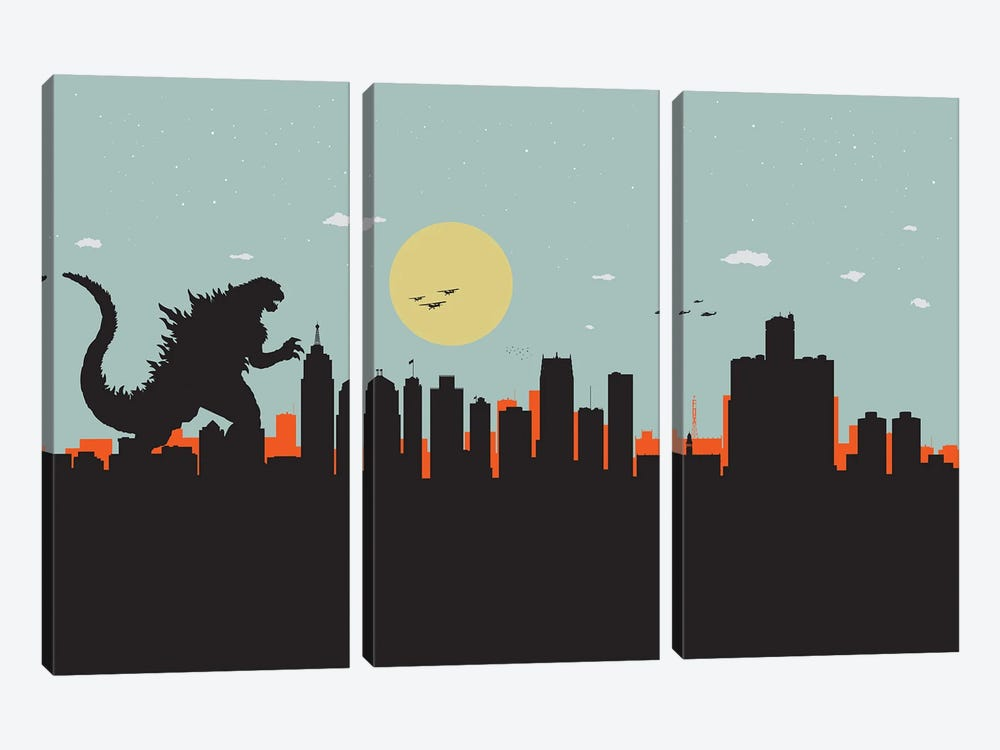 Detroit Monster by SKYWORLDPROJECT 3-piece Canvas Art Print