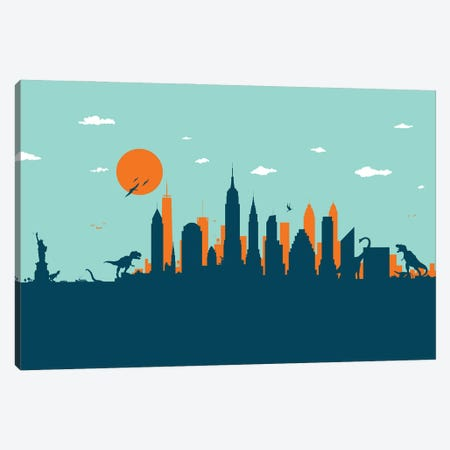 New York Jurassic Canvas Print #SKW42} by SKYWORLDPROJECT Canvas Print