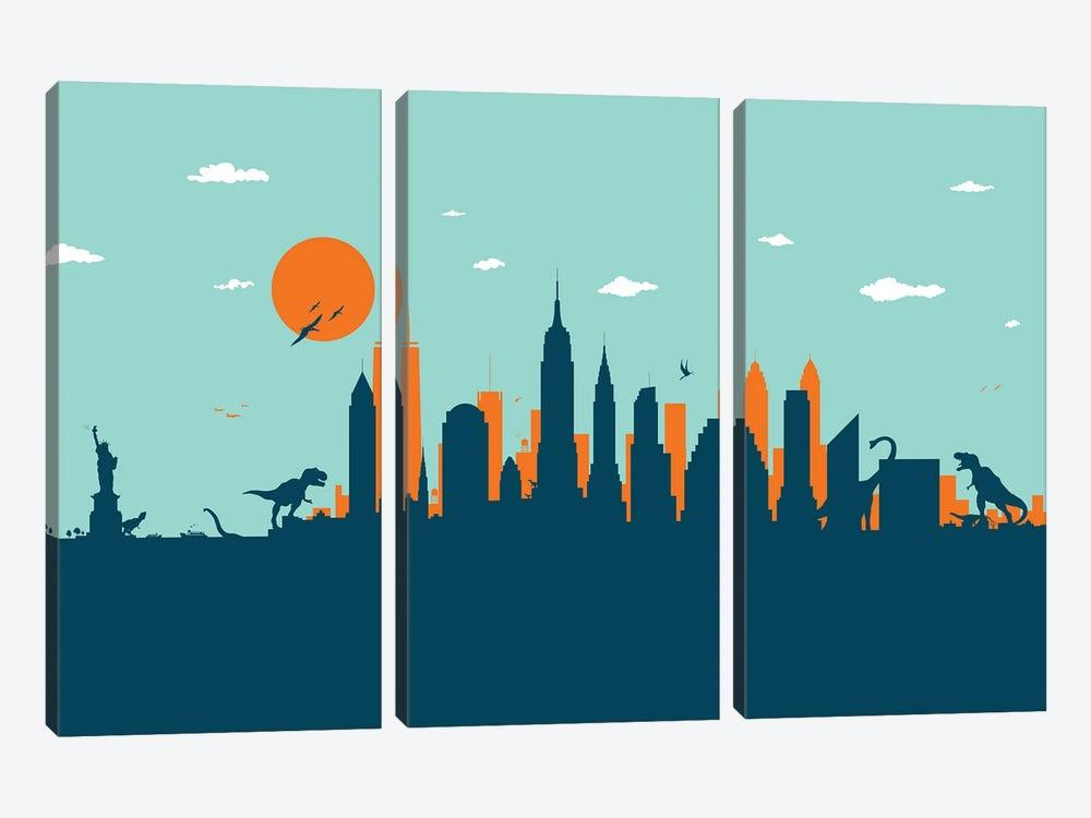 New York Jurassic by SKYWORLDPROJECT 3-piece Canvas Art Print