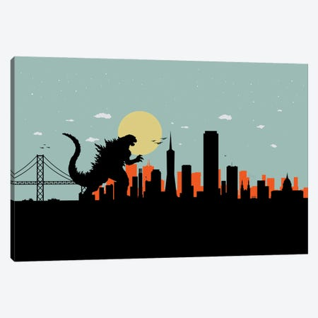 San Francisco Monster Canvas Print #SKW49} by SKYWORLDPROJECT Art Print