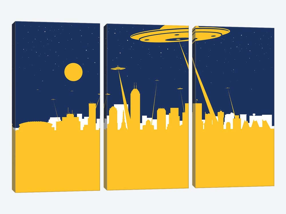 Indianapolis UFO by SKYWORLDPROJECT 3-piece Canvas Wall Art