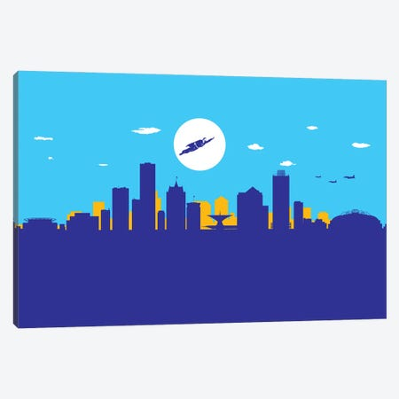 Milwaukee Superhero Canvas Print #SKW71} by SKYWORLDPROJECT Canvas Wall Art