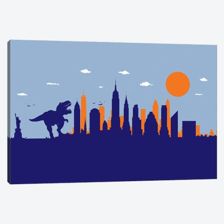 New York T-Rex Canvas Print #SKW78} by SKYWORLDPROJECT Canvas Wall Art