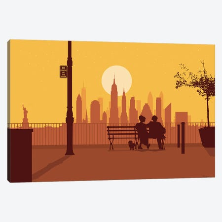 A bench in Manhattan Canvas Print #SKW83} by SKYWORLDPROJECT Art Print