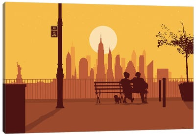 A bench in Manhattan Canvas Art Print