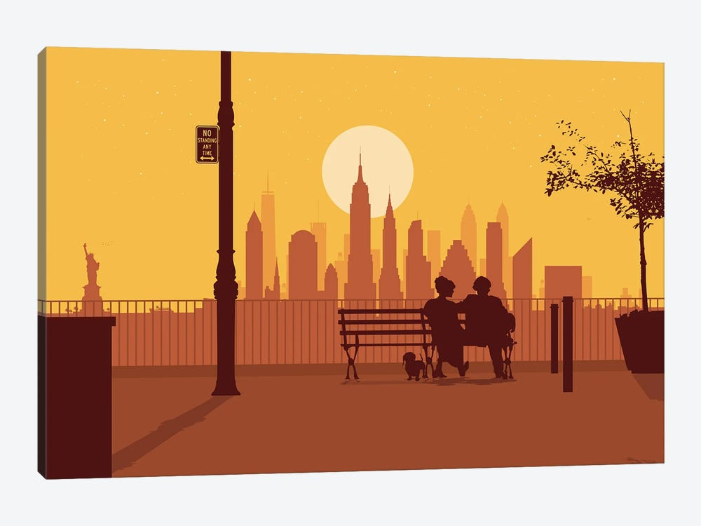 A bench in Manhattan by SKYWORLDPROJECT 1-piece Canvas Art