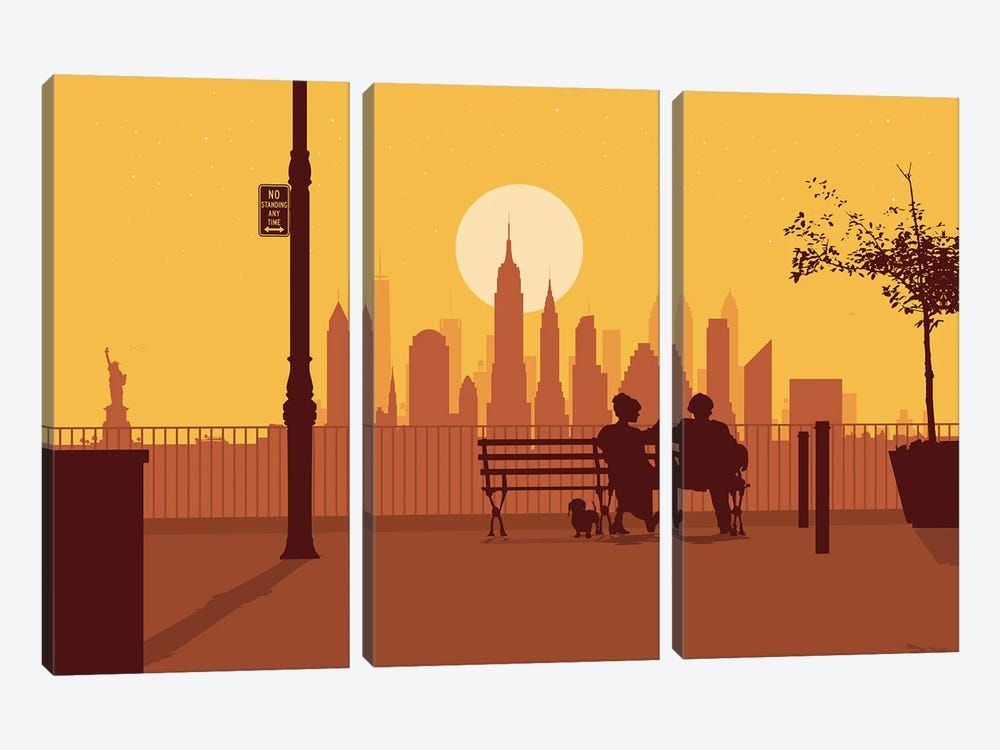 A bench in Manhattan by SKYWORLDPROJECT 3-piece Canvas Art