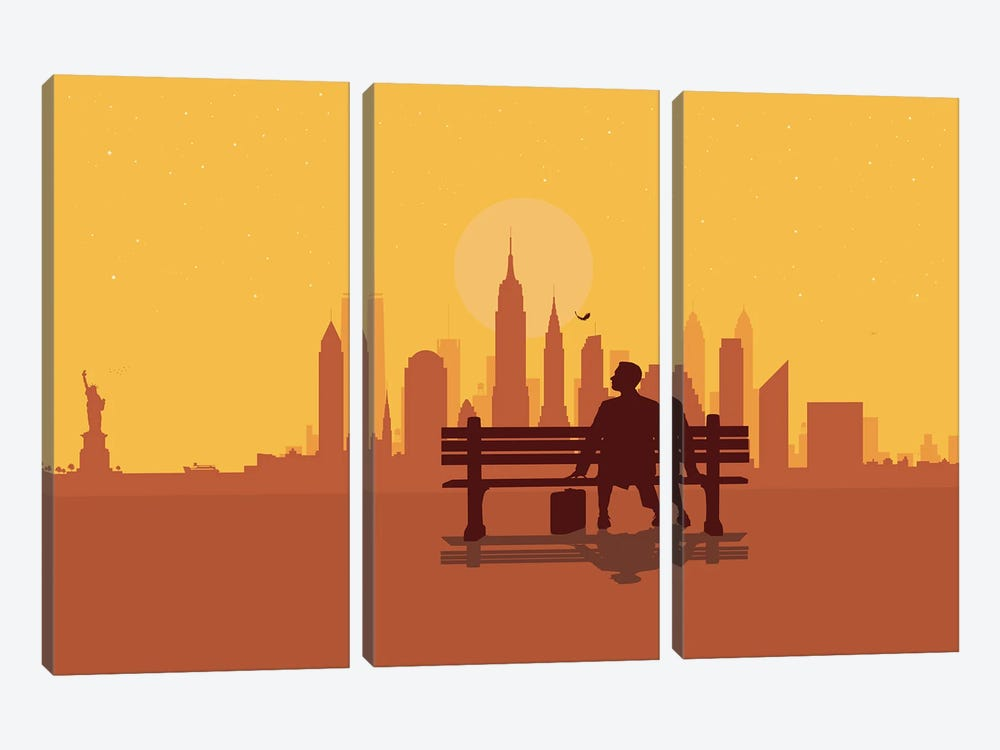 New York Bench by SKYWORLDPROJECT 3-piece Canvas Art