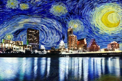 Austin Texas Starry Night Skyline Art Print By