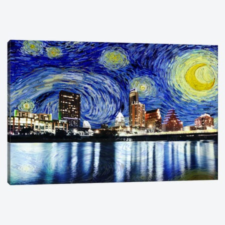 Austin, Texas Starry Night Skyline Canvas Print #SKY100} by 5by5collective Canvas Art Print