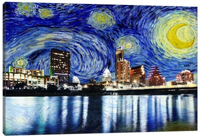 Austin, Texas Starry Night Skyline Canvas Art Print