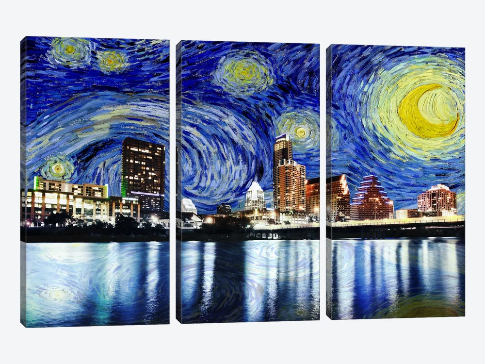 Austin, Texas Starry Night Skyline by 5by5collective 3-piece Canvas Art Print