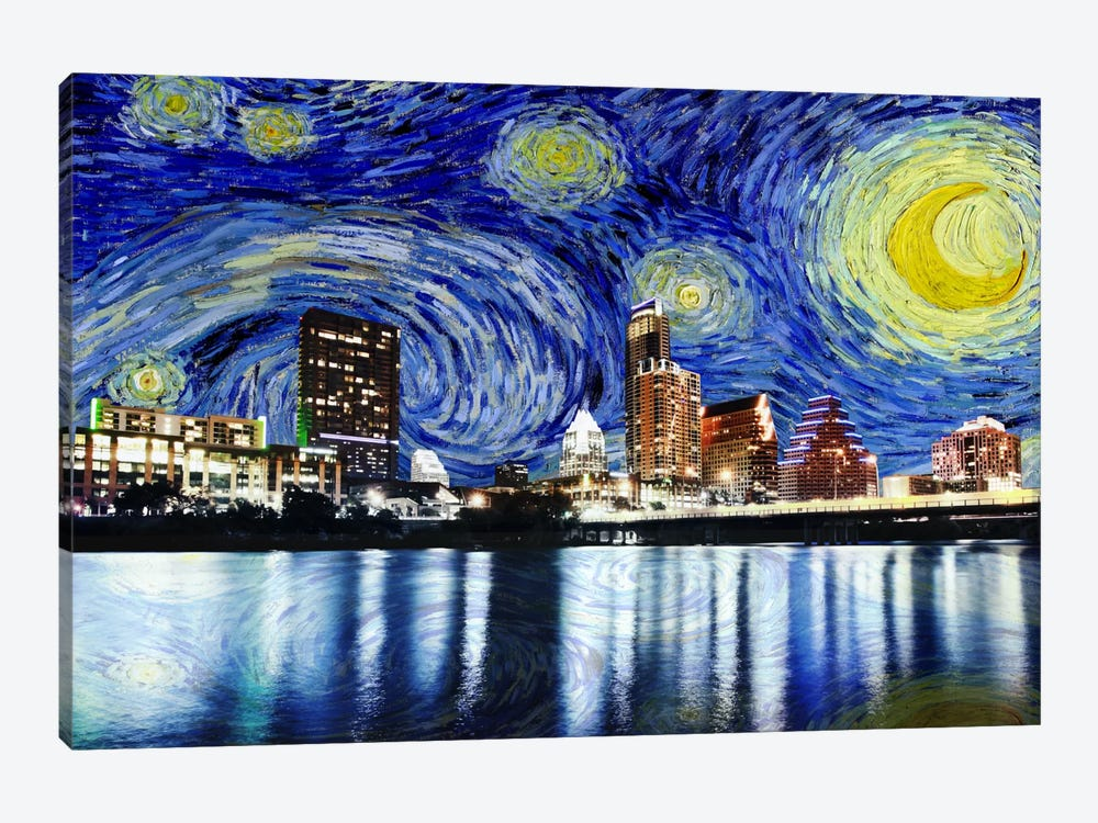 Austin, Texas Starry Night Skyline by 5by5collective 1-piece Art Print