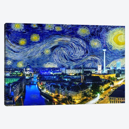 Berlin, Germany Starry Night Skyline Canvas Print #SKY101} by 5by5collective Canvas Print