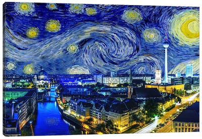Berlin, Germany Starry Night Skyline Canvas Art Print