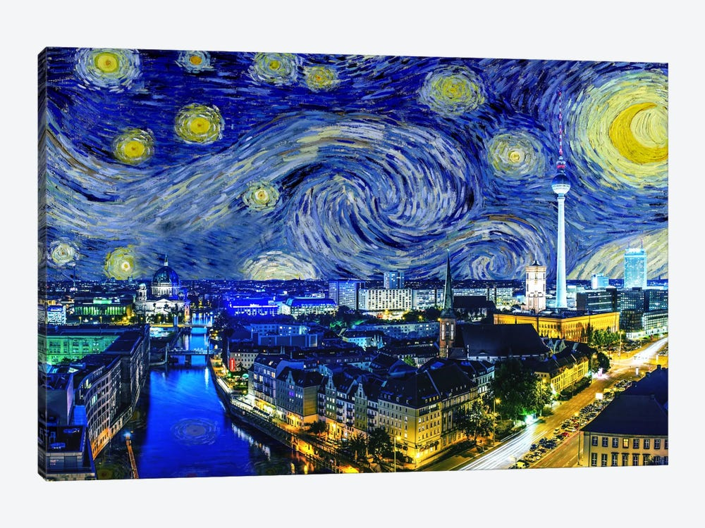Berlin, Germany Starry Night Skyline by 5by5collective 1-piece Canvas Art