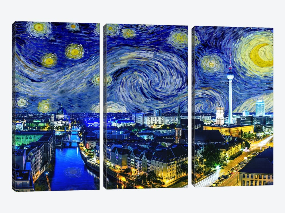 Berlin, Germany Starry Night Skyline by 5by5collective 3-piece Canvas Artwork