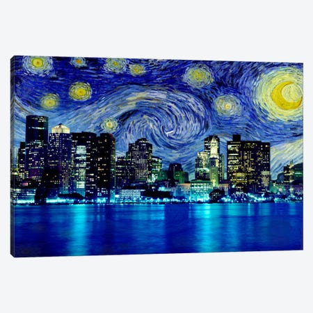 Boston, Massachusetts Starry Night Skyline Canvas Print #SKY102} by iCanvas Canvas Print