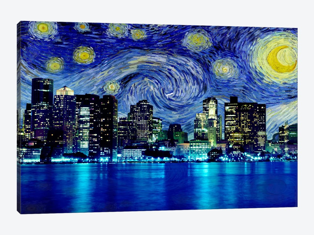 Boston, Massachusetts Starry Night Skyline by 5by5collective 1-piece Canvas Art Print