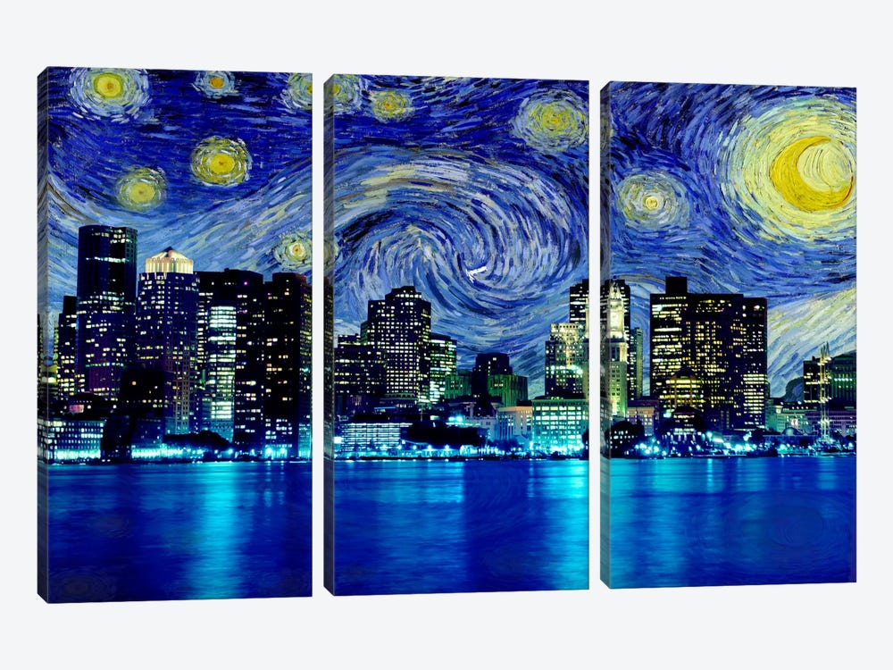 Boston, Massachusetts Starry Night Skyline by 5by5collective 3-piece Canvas Art Print