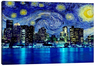 Boston, Massachusetts Starry Night Skyline Canvas Art Print