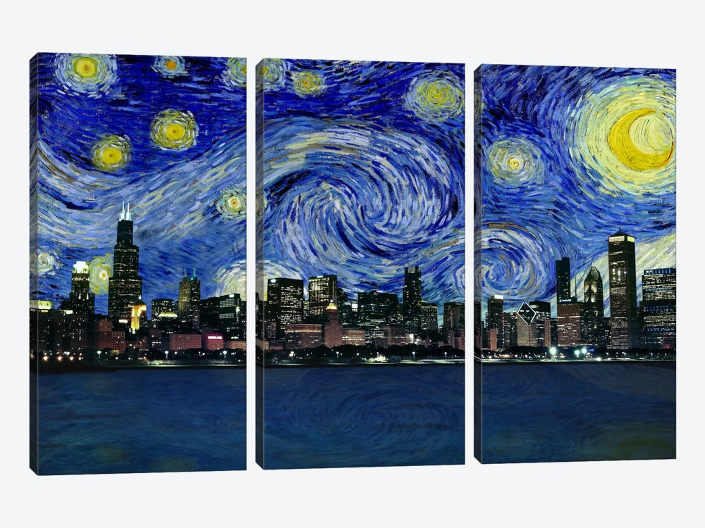 Chicago, Illinois Starry Night Skyline by 5by5collective 3-piece Canvas Artwork