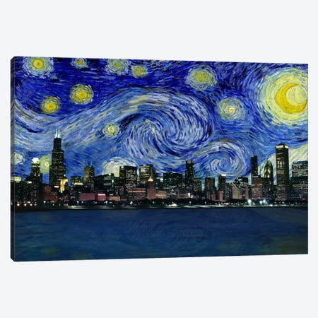 Chicago, Illinois Starry Night Skyline Canvas Print #SKY103} by 5by5collective Canvas Print