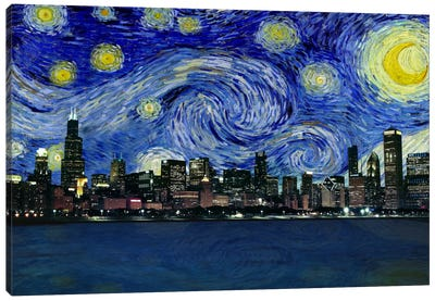 Chicago, Illinois Starry Night Skyline Canvas Art Print