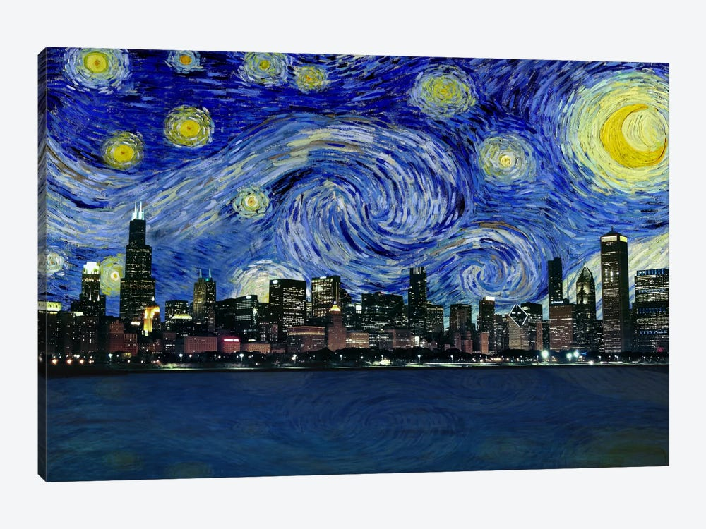 Chicago, Illinois Starry Night Skyline by 5by5collective 1-piece Canvas Wall Art