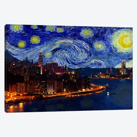 Hong Kong, China Starry Night Skyline Canvas Print #SKY104} by iCanvas Canvas Art