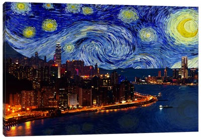 Hong Kong, China Starry Night Skyline Canvas Art Print