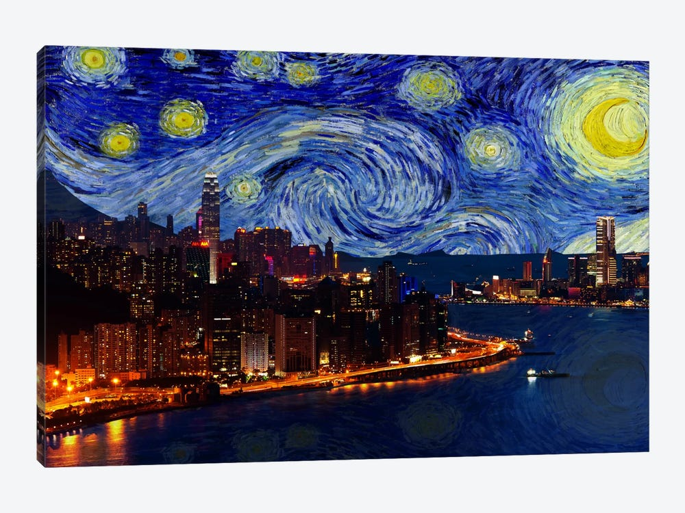 Hong Kong, China Starry Night Skyline by 5by5collective 1-piece Canvas Print