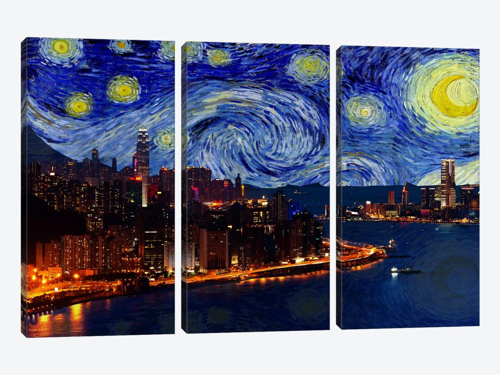 Hong Kong, China Starry Night Skyline by 5by5collective 3-piece Canvas Print