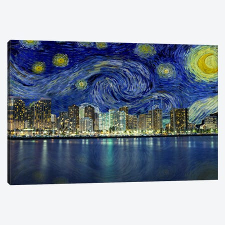 Honolulu, Hawaii Starry Night Skyline Canvas Print #SKY105} by 5by5collective Canvas Art