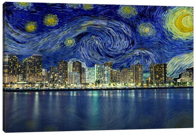Honolulu, Hawaii Starry Night Skyline Canvas Art Print