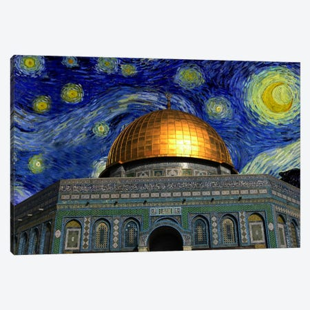 Jerusalem Starry Night Skyline Canvas Print #SKY106} by 5by5collective Canvas Wall Art