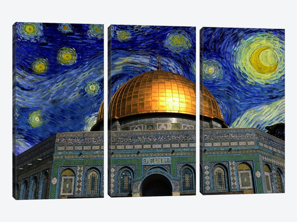 Jerusalem, Israel Starry Night Skyline by iCanvas 3-piece Art Print