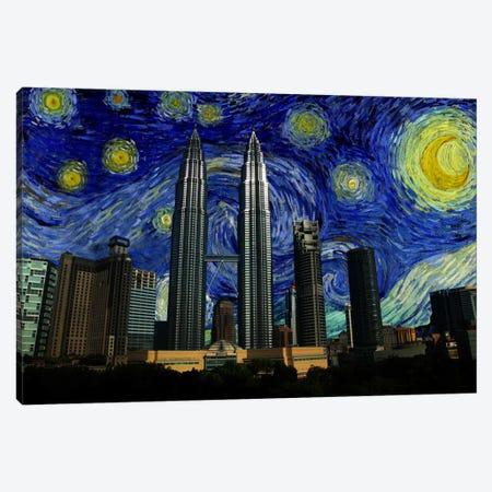 Kuala Lumpur, Malaysia Starry Night Skyline Canvas Print #SKY107} by 5by5collective Canvas Wall Art
