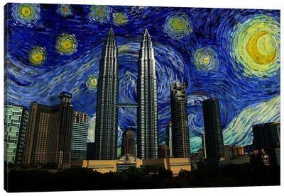 Kuala Lumpur, Malaysia Starry Night Skyline Canvas Art Print