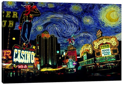 Las Vegas, Nevada Starry Night Skyline Canvas Art Print