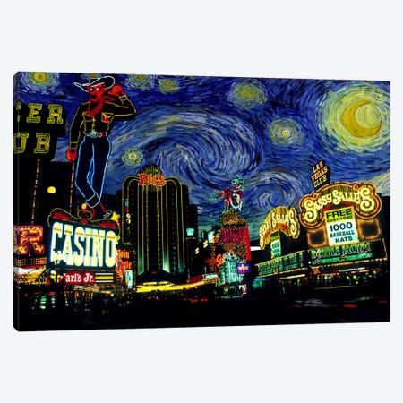 Las Vegas, Nevada Starry Night Skyline Canvas Print #SKY108} by 5by5collective Canvas Print
