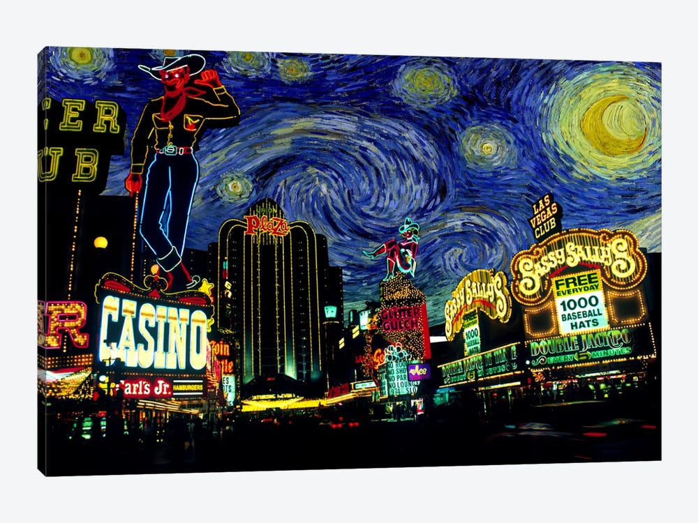 Las Vegas, Nevada Starry Night Skyline by 5by5collective 1-piece Canvas Art Print