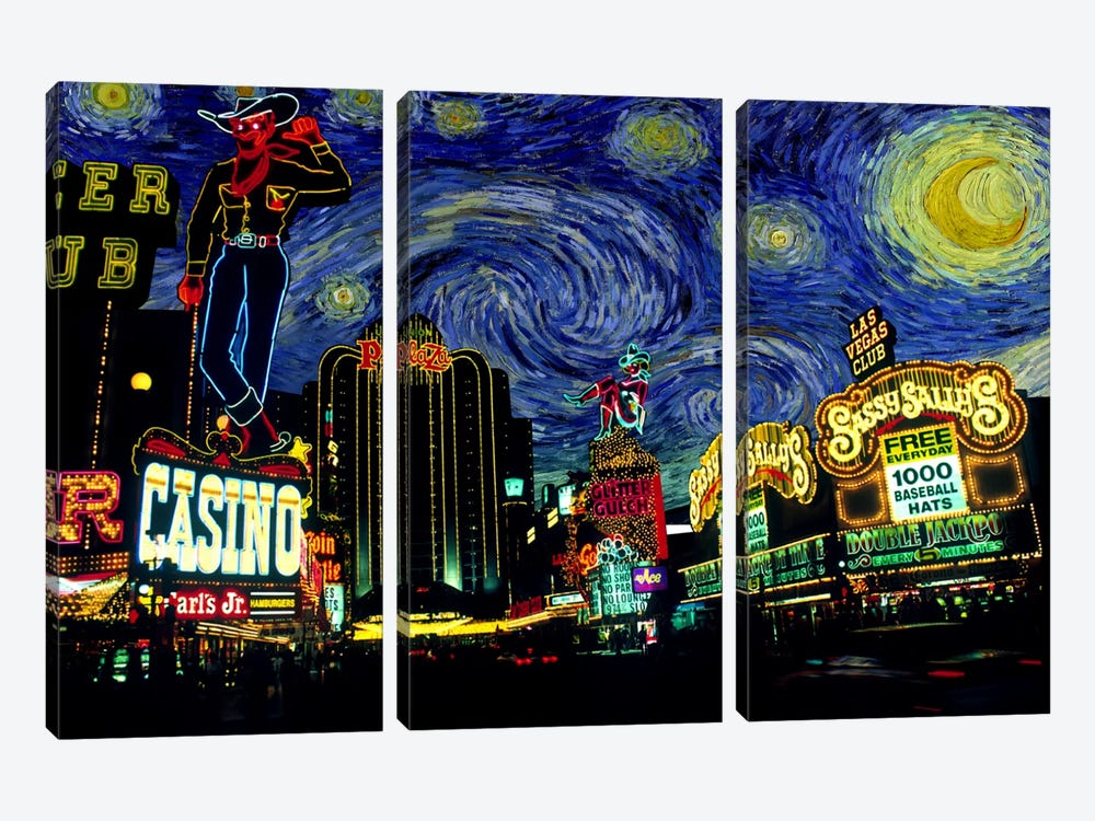 Las Vegas, Nevada Starry Night Skyline by 5by5collective 3-piece Canvas Print