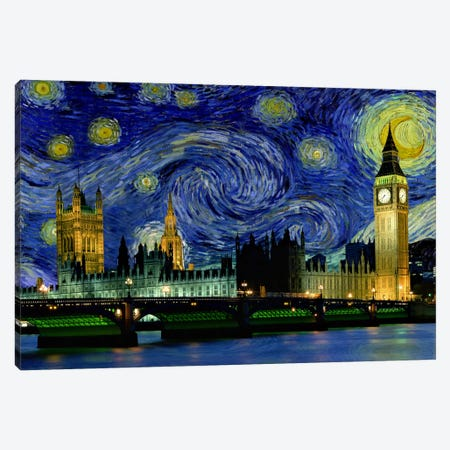 London, England Starry Night Skyline Canvas Print #SKY109} by 5by5collective Art Print