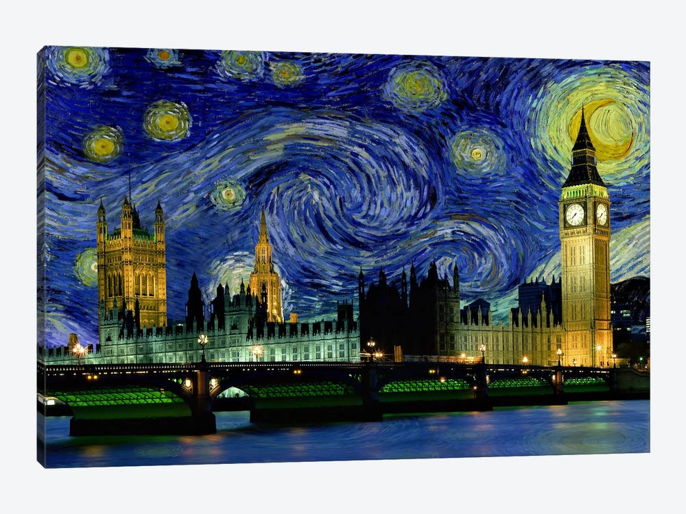 London, England Starry Night Skyline by 5by5collective 1-piece Canvas Art