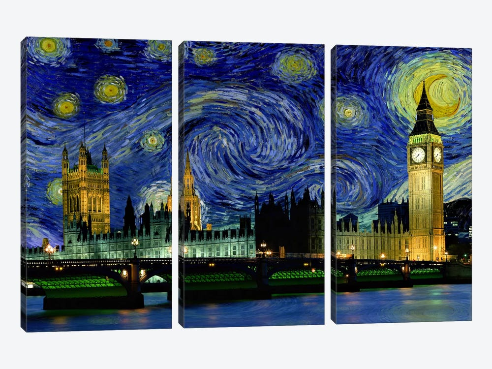 London, England Starry Night Skyline by 5by5collective 3-piece Canvas Wall Art