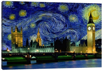 London, England Starry Night Skyline Canvas Art Print