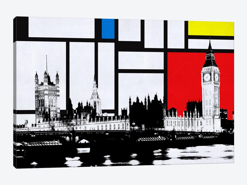London, England Skyline with Primary Colors Background by iCanvas 1-piece Canvas Print