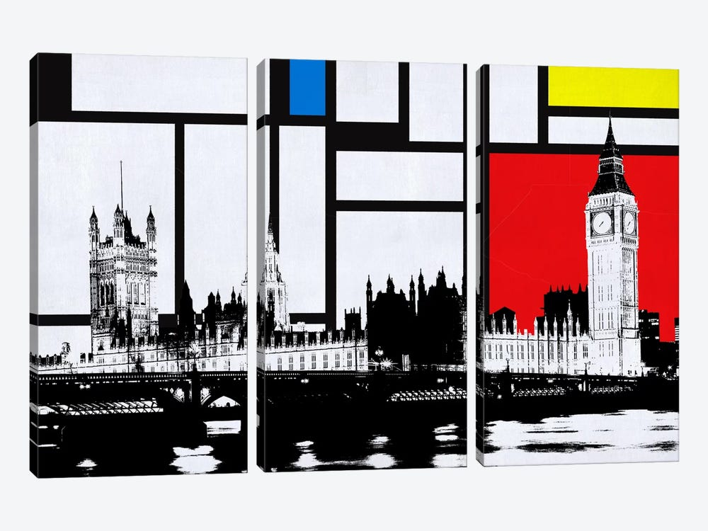 London, England Skyline with Primary Colors Background by iCanvas 3-piece Canvas Print