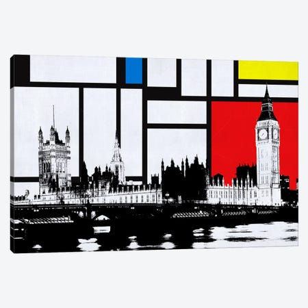 London, England Skyline with Primary Colors Background Canvas Print #SKY10} by Unknown Artist Canvas Artwork